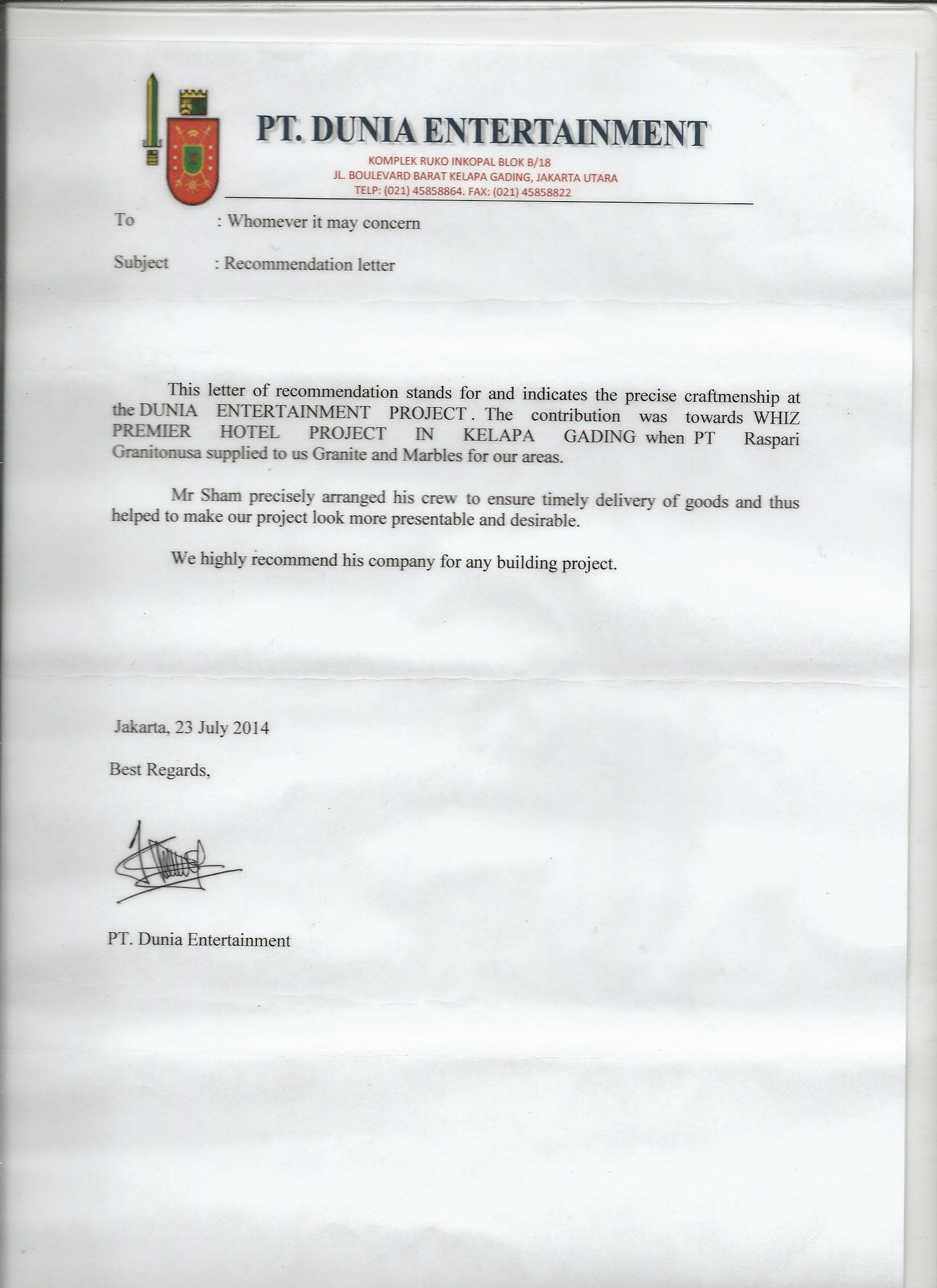 PT DUNIA ENTERTAINMENT- FOR WHIZ HOTEL PREMIER